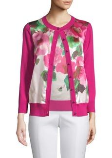 St. John Merino Wool Floral Cardigan