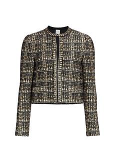 St. John Metallic Bouclé Tweed Knit Jacket