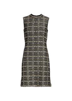 St. John Metallic Bouclé Tweed Knit Sheath Dress