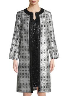 St. John Metallic Silk Chiffon Metallic-Embellished Topper Jacket