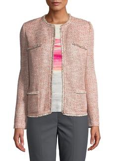 St. John Metallic Tweed Eyelash-Trim Jacket