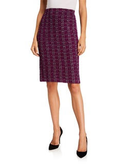St. John Metro Tweed Knit Pull-On Skirt