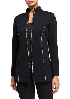 St. John Mezzo Embellished Mandarin Collar Santana Knit Jacket