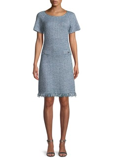 St. John Micro-Check Knit Fringe-Hem Dress