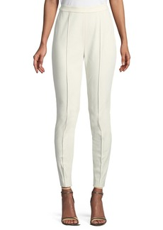 St. John Mid-Rise Fine Stretch Twill Leggings w/ Ankle Zip