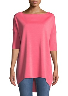 St. John Milano Knit Half-Sleeve High-Low Tunic