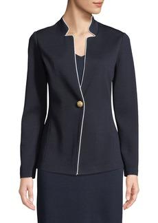 St. John Milano-Knit Piped Blazer Jacket