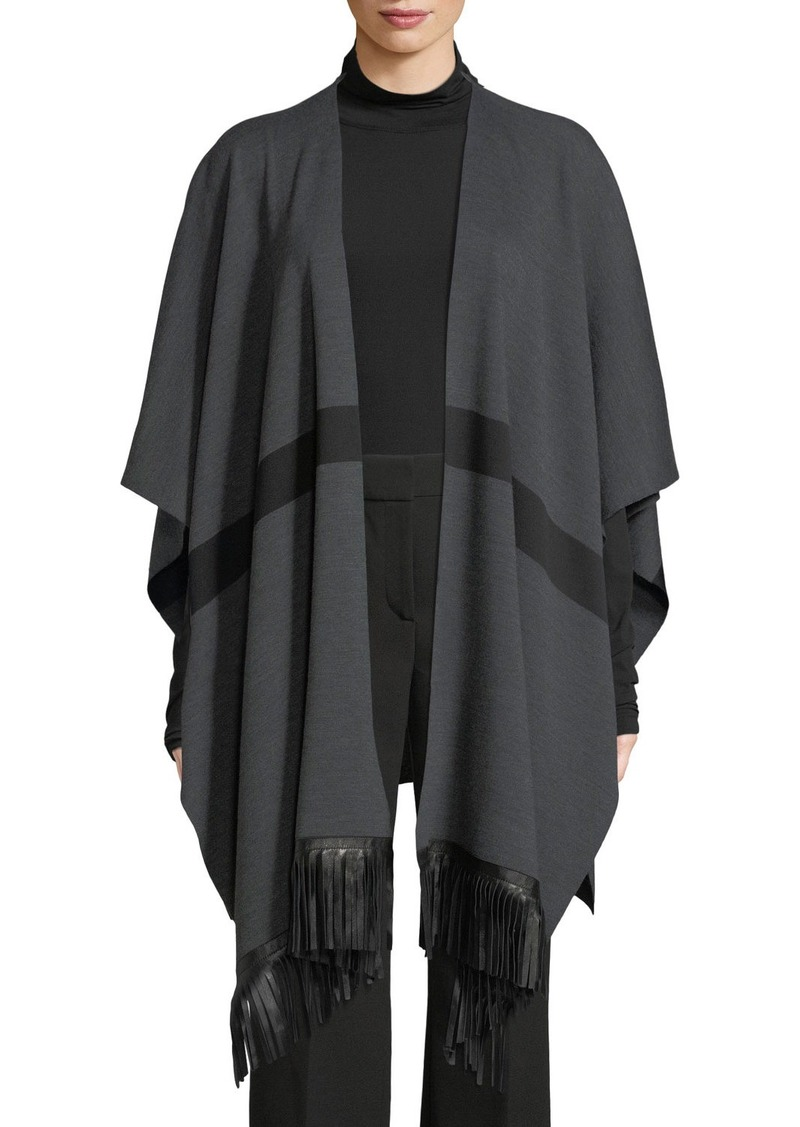 St. John Milano Knit Striped Wrap w/ Leather Fringe