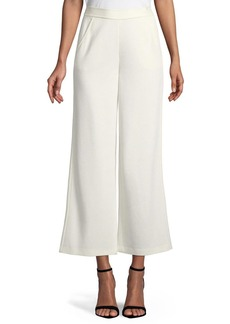 St. John Milano Knit Wide-Leg Cropped Pants