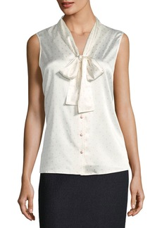 St. John Mini Dot-Print Stretch-Silk Blouse
