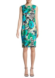 St. John Mixed-Print Stretch-Silk Sheath Dress