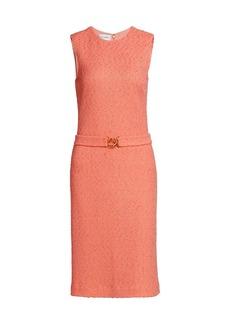 St. John Modern Slub Knit Belted Sheath Dress