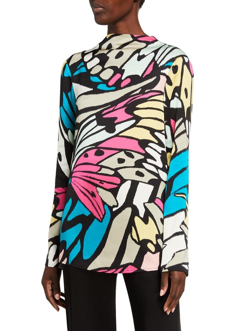St. John Monarch Butterfly Print Tie-Back Top