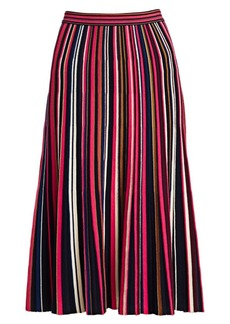 St. John Multicolor Stripe Plisse Knit Skirt