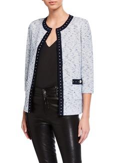 St. John Nimes Tweed Knit 3/4-Sleeve Studded Jacket