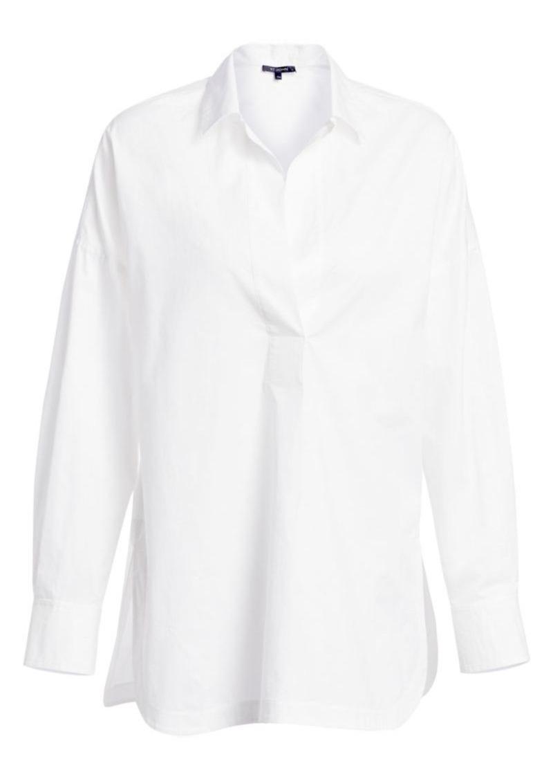 St. John Notch Lapel Cotton Popover Shirt