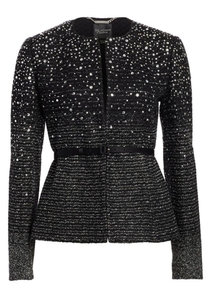 St. John Ombre Metallic Tweed Belted Jacket