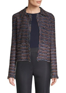 St. John Ombre Ribbon Knit Fringe Jacket