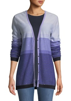 St. John Ombre Stripes Button-Front Sequin Cashmere-Knit Cardigan