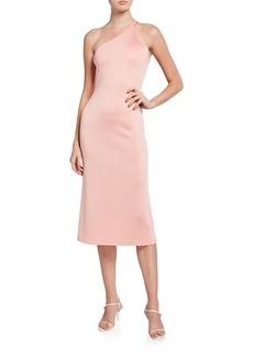 St. John One-Shoulder Milano Knit Midi Dress