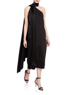 St. John One-Shoulder Sleeveless Midi Dress w/ Liquid Satin Neck Tie