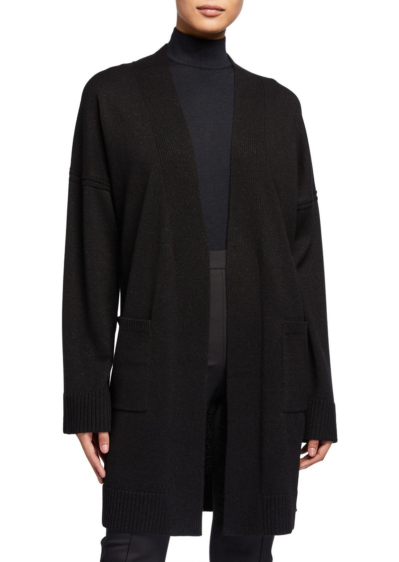 St. John Open Cashmere-Blend Long Jacket