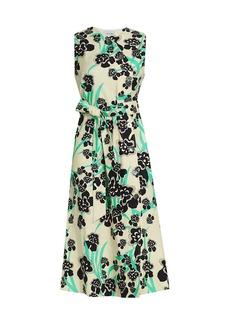 St. John Orchid Fever Print Twill Belted Midi Dress