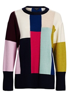 St. John Patchwork Wool-Cashmere Sweater