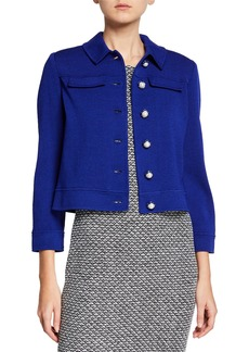 St. John Pearly Bracelet-Sleeve Cropped Jacket