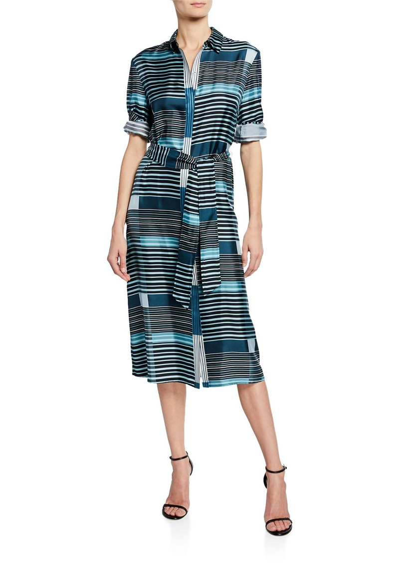 St. John Plaid Print Belted Midi Button-Down Dress