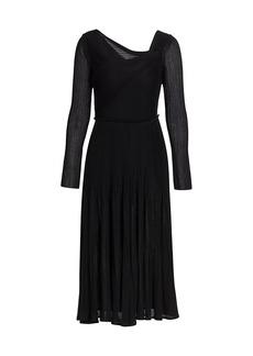 St. John Pleated Drape Sheath Dress