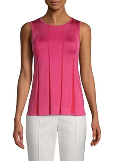 St. John Pleated Knit Sleeveless Top