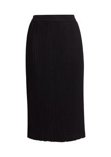 St. John Plissé Flare Knit Skirt