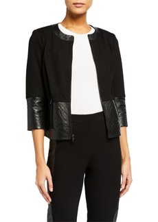 St. John Ponte Quilted Leather Trim Jacket