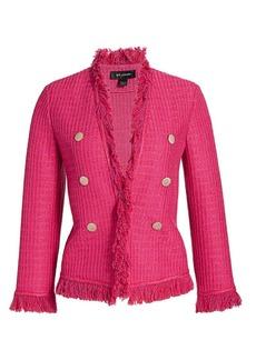 St. John Poppy Textured Fringe Wool-Blend Jacket