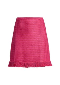 St. John Poppy Textured Wool-Blend Fringe A-Line Skirt
