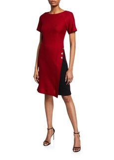 St. John Raglan-Sleeve Textured Float-Stitch A-Line Dress w/ Stretch-Cady Insert