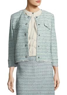 St. John Riana Multi-Tweed Jacket with Fringe