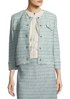 St. John Riana Multi-Tweed Jacket with Fringe
