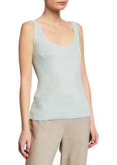 St. John Rib-Knit Scoop Neck Shell Top