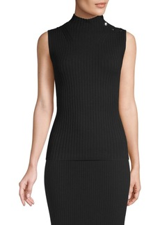St. John Ribbed Mockneck Sleeveless Top