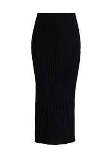 St. John Ribbed Wool Pencil Skirt