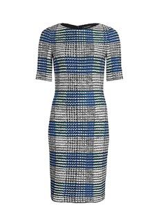 St. John Ribbon Plaid Knit Bateau Neck Sheath Dress