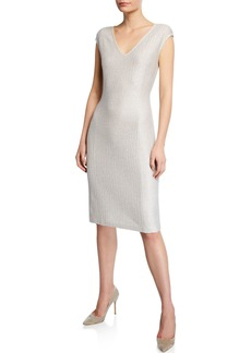 St. John Ripple Texture Sequin Knit Cap-Sleeve Dress