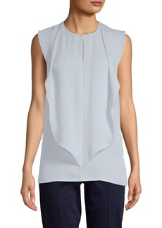 St. John Ruffle Sleeveless Silk Top
