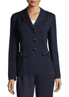 St. John Santana Knit Blazer W/ Pocket Flap Detail