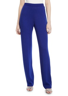 St. John Santana Knit High-Rise Tapered Pants  Blue