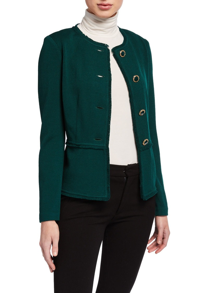 St. John Santana Knit Jewel-Neck Jacket
