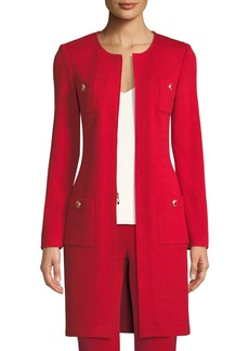 St. John Santana-Knit Jewel-Neck Topper Jacket