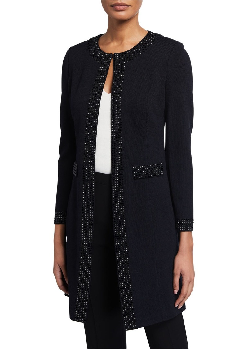 St. John Santana Knit Long Embellished Jacket